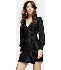 black plisse shirred midi wrap dress - black