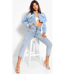 high waist detail mom jeans, light blue