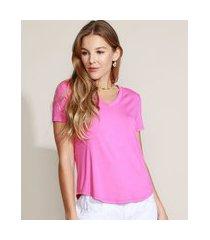 camiseta feminina básica manga curta decote v pink