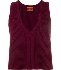 colville chunky-knit v-neck vest - red