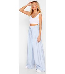 womens big yourself up belted wide-leg pants - blue