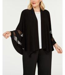 r & m richards plus size illusion-trim jacket
