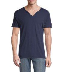 zadig & voltaire men's monas splitneck cotton t-shirt - grey - size xl