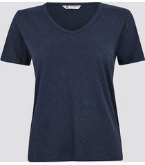 t-shirt i linne med v-ringning - mörkblå