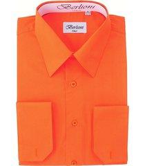 berlioni men's convertible cuff solid italian french dress shirt orange
