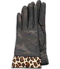 portolano women's leopard-print calf hair & leather gloves - size 7