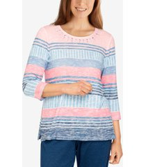 alfred dunner petite relax & enjoy women's casual striped printed t-shirt