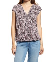 halogen(r) surplice blouson top, size xx-large in pink azalea spotted plaid at nordstrom