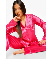 petite love pyjama set met broek en borstopdruk, pink