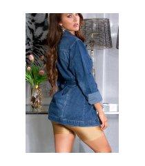 trendy jeansjas met riem blauw