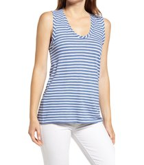 caslon(r) muscle tank, size large in blue moonlight- white stripe at nordstrom
