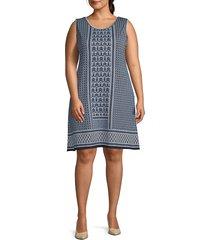 max studio women's plus sleeveless printed shift dress - navy red - size 1x (14-16)