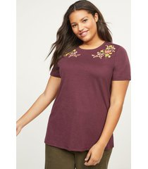 lane bryant women's floral embroidered tee 14/16 winetasting