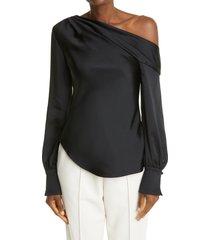 women's jonathan simkhai cutout back satin blouse, size x-small - black