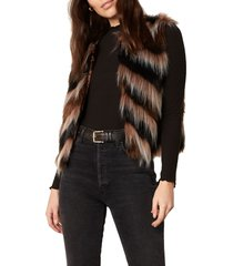 women's bb dakota fur your consideration chevron stripe faux fur vest, size large - brown