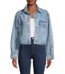 lea & viola women's cropped denim jacket - denim - size s