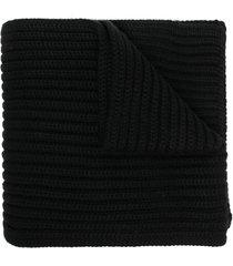 dolce & gabbana embroidered logo ribbed scarf - black