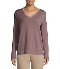 lurex trim dropped shoulder pullover
