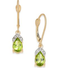 peridot (1-3/4 ct. t.w.) & diamond accent drop earrings in 14k gold