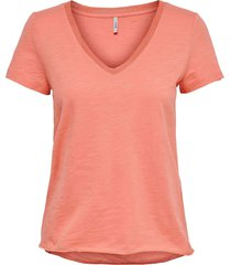 only kendall life s/s v-neck top jrs burnt coral/gol