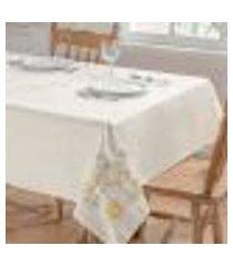 toalha de mesa dália palha / amarelo retangular 2,50m x 1,40m