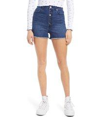 women's 1822 denim super high waist shorts, size 32 - blue