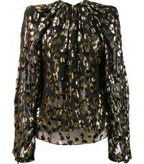saint laurent leopard detail structured blouse - black