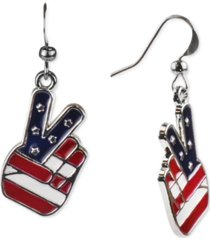 holiday lane silver-tone red, white & blue peace sign drop earrings, created for macy's
