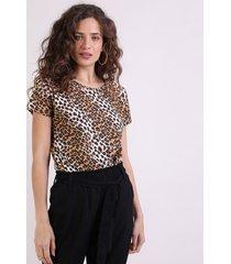 blusa feminina estampada animal print onça manga curta bege