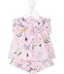 il gufo butterfly-print shirt and shorts set - pink