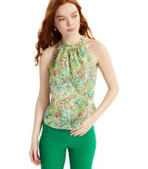 charter club linen floral-print halter top, created for macy's