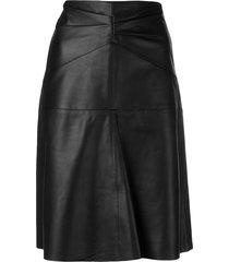 isabel marant paneled high-waist leather skirt - black