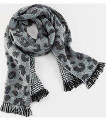 claire leopard print scarf - black/white