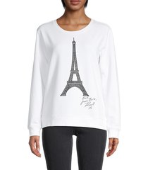 karl lagerfeld paris women's eiffel tower cotton-blend sweatshirt - soft white - size xxs