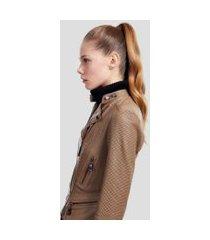 jaqueta de couro motor vazada camel maple/grafite - 36