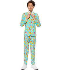 boy's opposuits cool cones two-piece suit with tie (big boy)