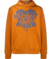 billionaire heart & mind print hoodie - brown