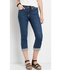 silver jeans co.® womens suki dark rolled hem capri blue denim - maurices