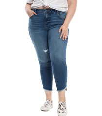 slink jeans frayed high waist ankle skinny jeans, size 22w in jacqueline at nordstrom