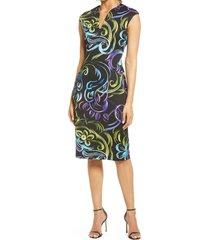 women's connected apparel swirl print v-neck sheath dress, size 8 - black