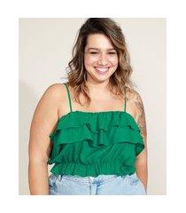 top cropped feminino plus size mindset com linho e babados alça fina decote reto verde