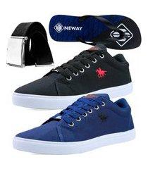 kit sapatenis casual neway polo energy masculino azul + preto + 1 chinelo neway + 1 cinto
