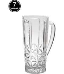 conjunto 7pã§s jarra e copos rojemac stella 1 l bon gourmet - branco - dafiti