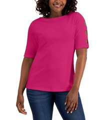karen scott petite cotton elbow-sleeve boat-neck top, created for macy's
