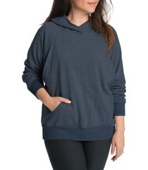 women's bun maternity relax daily maternity/nursing hoodie, size medium - blue