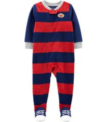 carter's toddler boy 1-piece football fleece footie pjs
