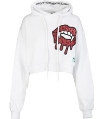 pharmacy industry woman white cropped hoodie with graphic print