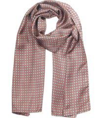 laura biagiotti designer men's scarves, red/gray optical print twill silk men's scarf