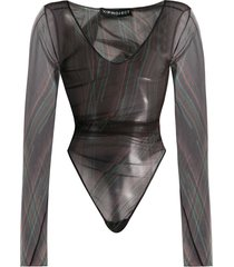 y/project sheer long-sleeve bodysuit - black