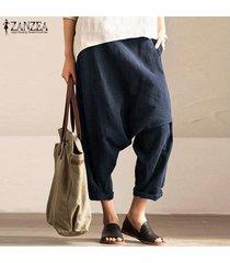 zanzea mujeres elásticos de la cintura bolsillos holgados pantalones largos pantalones flojos ocasionales de las señoras -azul marino
